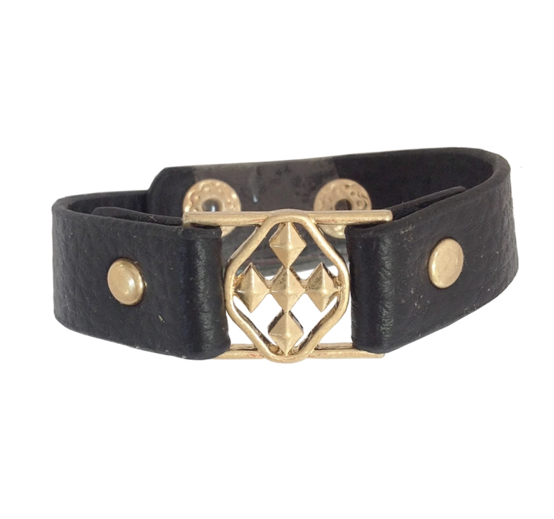 Gracewear Collection Wide Leather Cuff