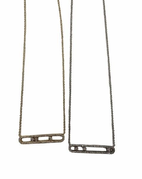 Rhinestone Bar Necklace