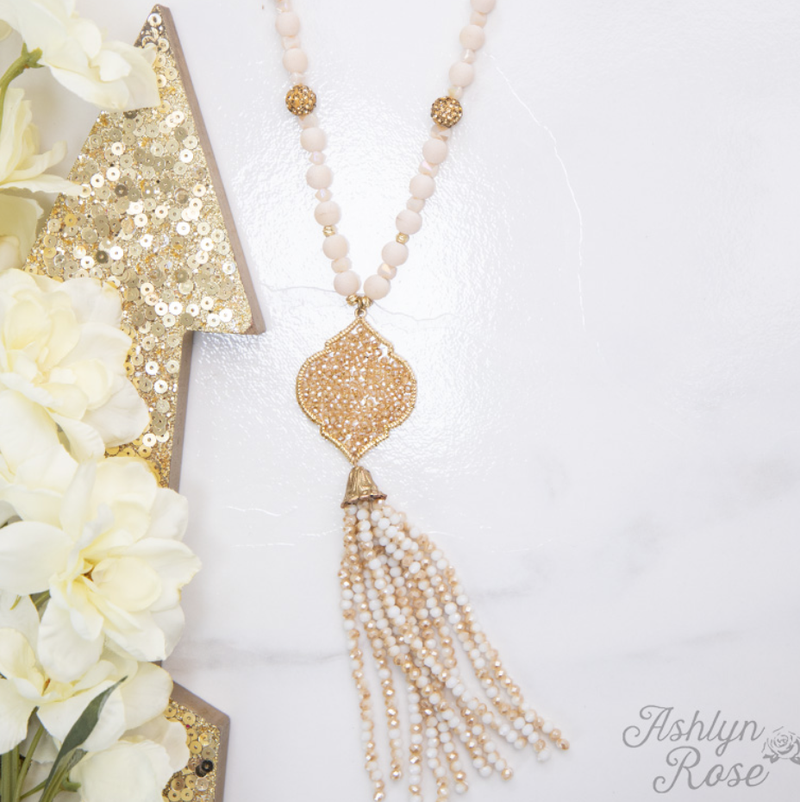 Going Baroque Beaded Tassel Necklace