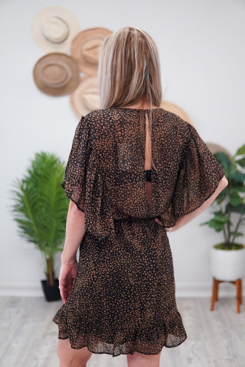 Black Ruffled Wrap Dress
