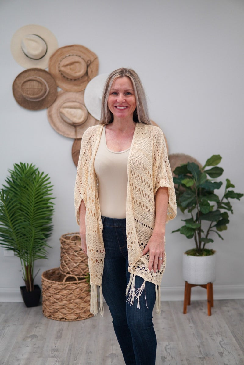 Island Hopping Knit Tassel Cardigan