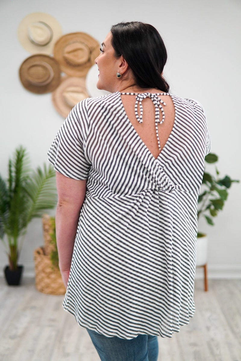 Shirley Striped Open Back Tunic