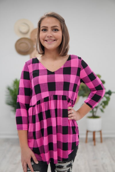 Plaid and Pretty Babydoll Top