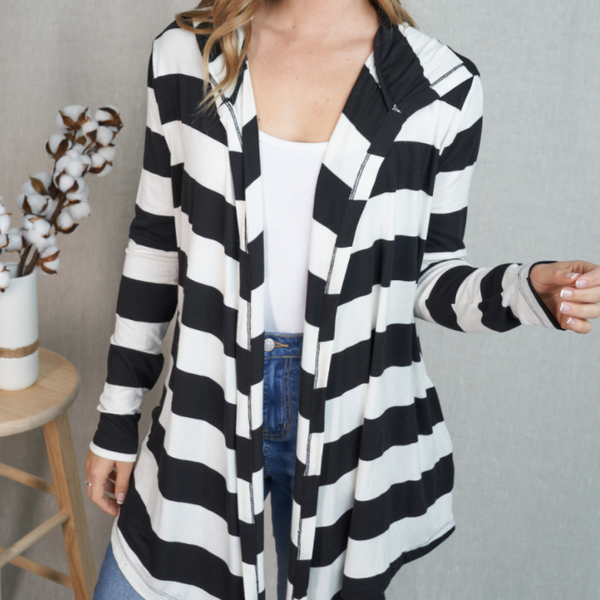 Stripe It Up Hooded Cardigan