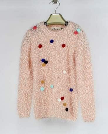 Girls' Pom Pom Sweater