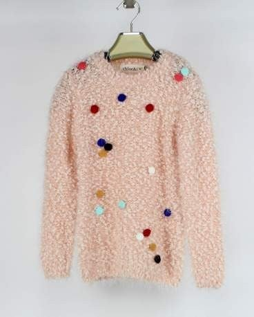 Girls' Pom Pom Sweater