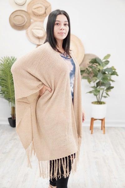 Fringe Knit Open Kimono