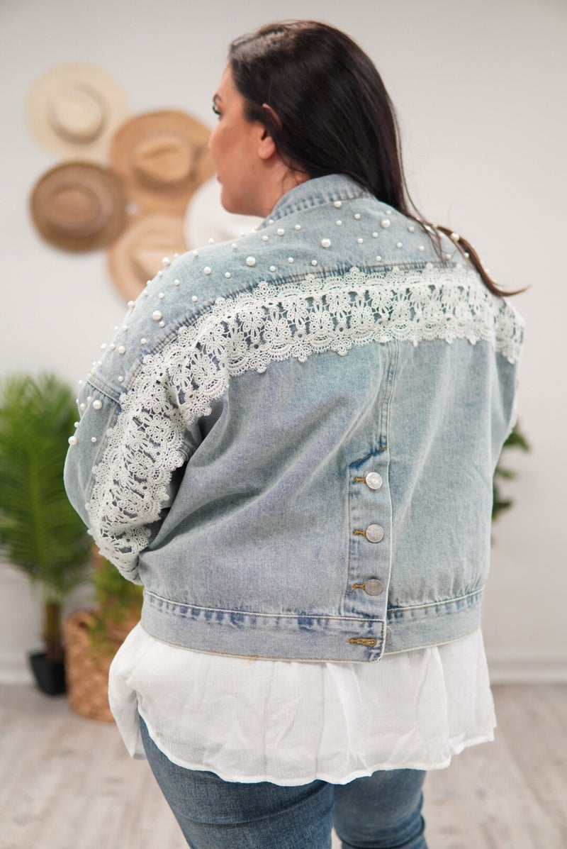 Ready for Anything Pearl and Lace POL Denim Jacket
