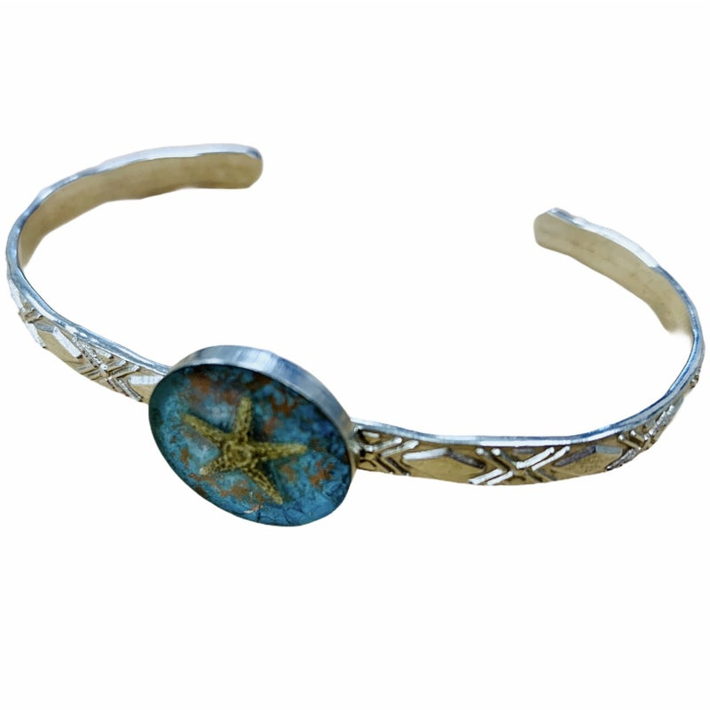 Copper Patina Starfish Cuff Bracelet