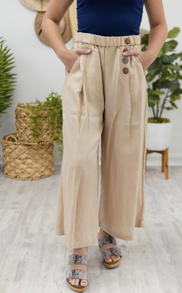 Linen And Button Beauty Pants