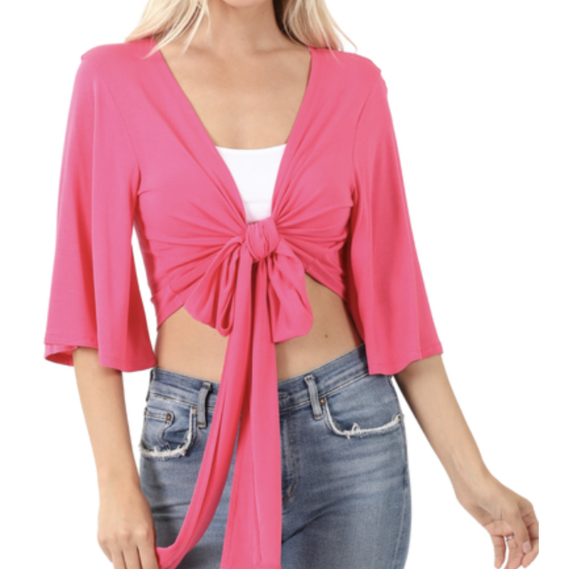 Real Woman Tie Front Top