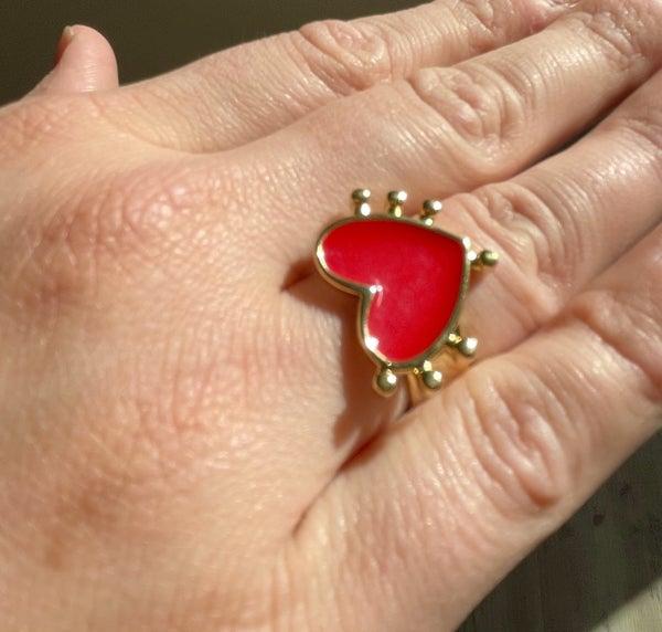Red Heart Enamel Ring Adjustable