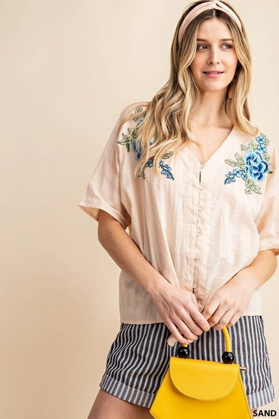 Embroidered Rose Front Tie Shirt