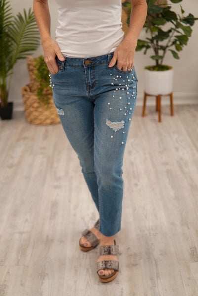 Girls In Pearls Cropped Jeans