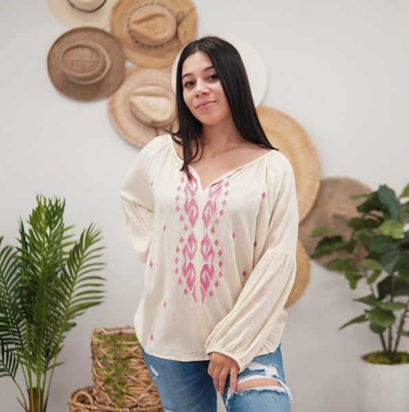 Touch Of Color Peasant Blouse