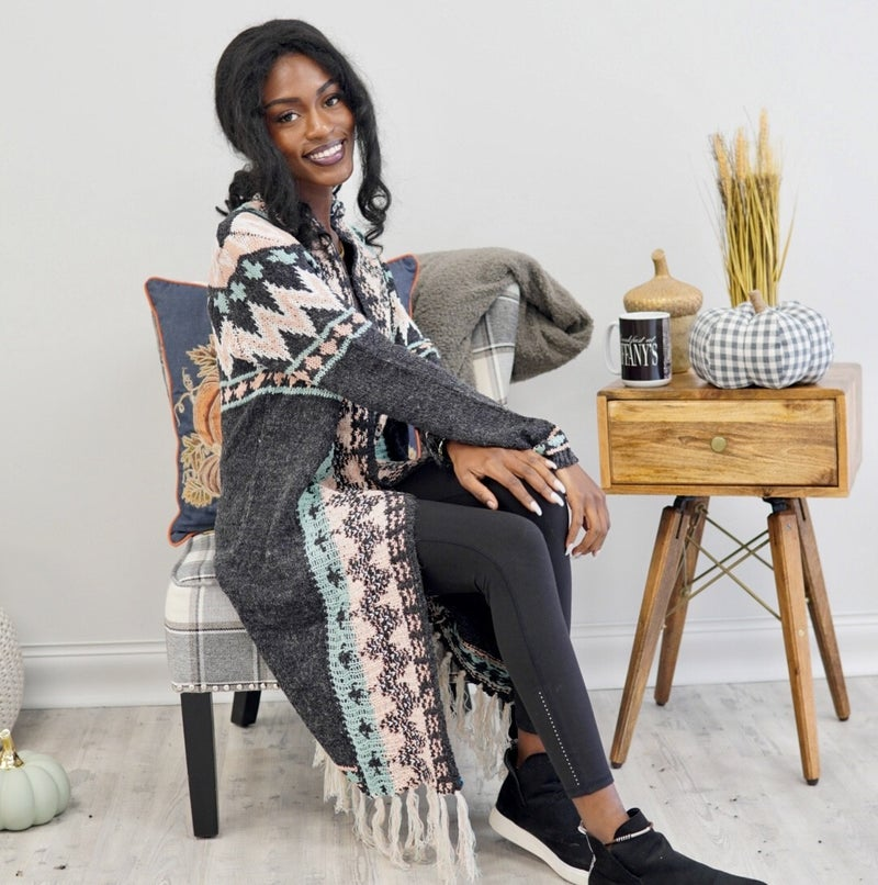 On The Fringe Aztec Knitted Duster