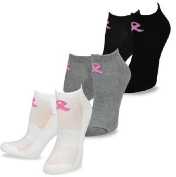 Pink Ribbon Ankle Socks