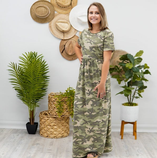 No Hiding Here Camo Maxi Dress