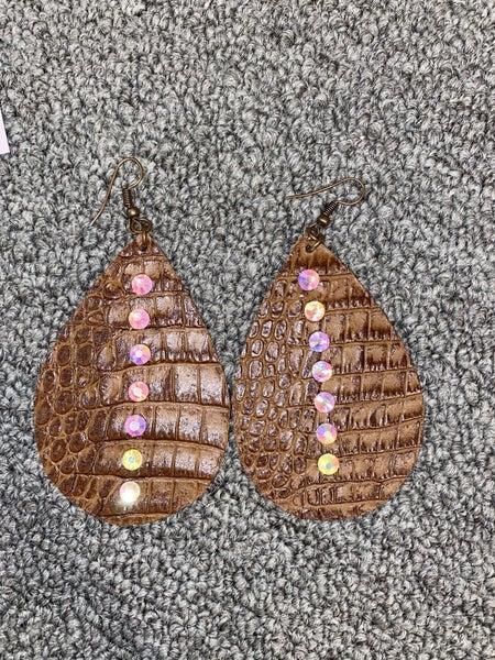 Bedazzled Croco Earrings