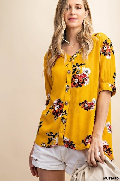 Stunning Floral Button Down Crinkle Blouse