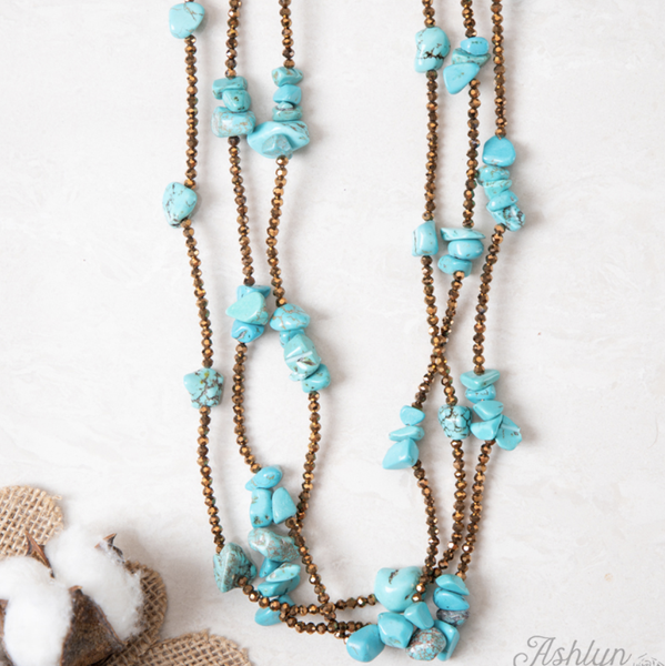 Three Layered Chunky Stone Necklace