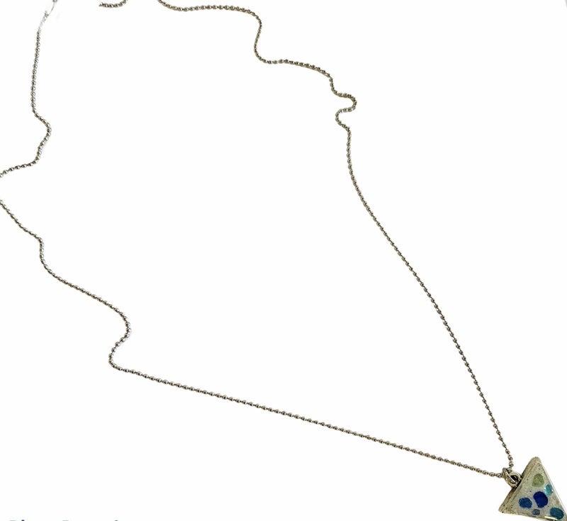 Sea Glass Silver Triangle Necklace