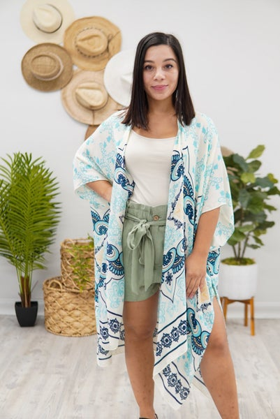 Mixed Filigree Print Kimono