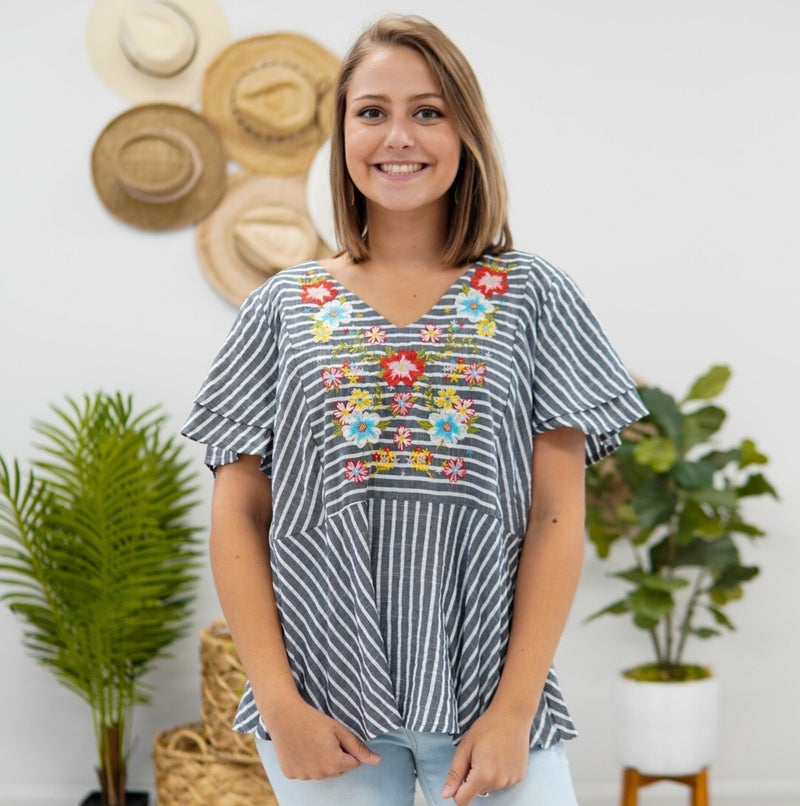 Stipes & Florals Fit And Flare Top