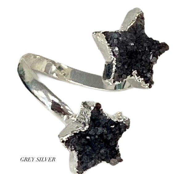 Star Double Druzy Ring