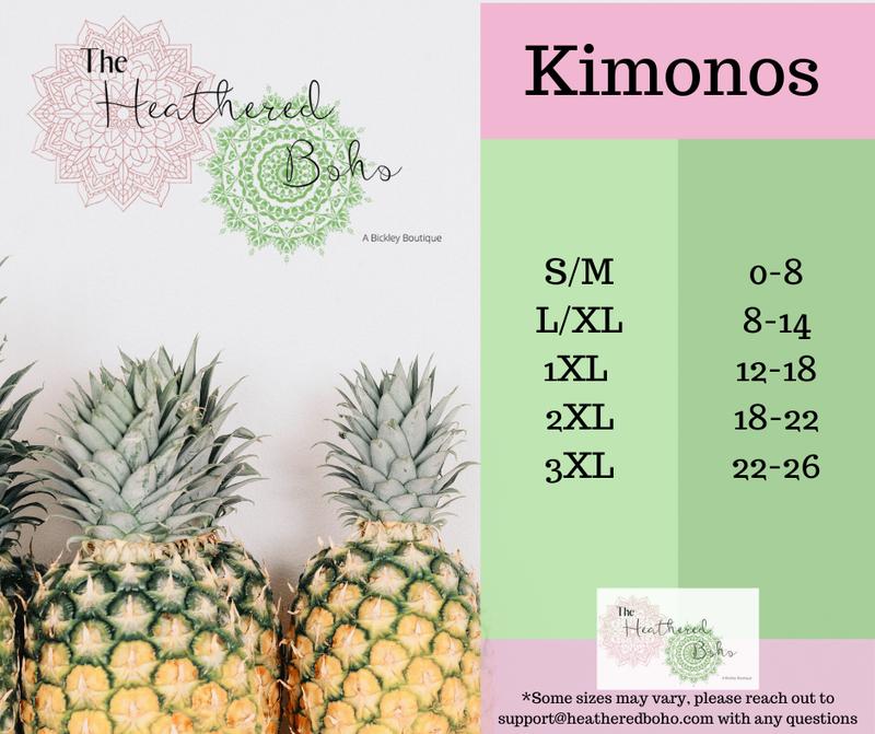 Sizing Guides Cardigans  & Kimonos