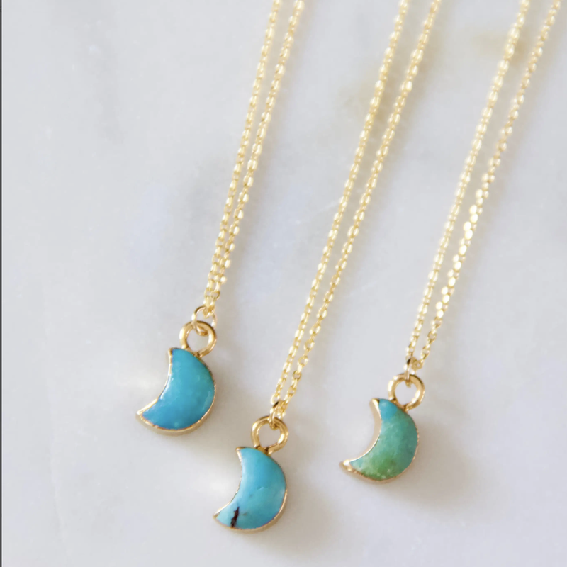 Tiny Turquoise Moon Necklace