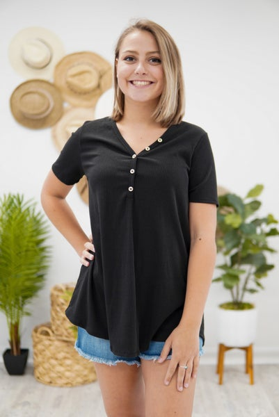 Keep It Simple Ribbed Button Top