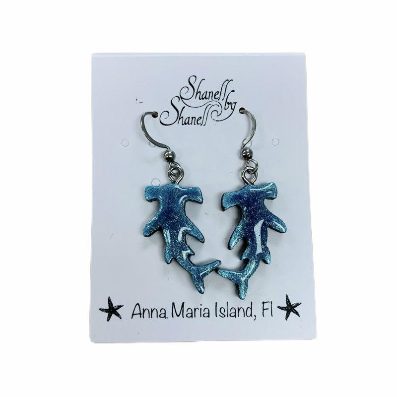 Shimmer Shark Earrings