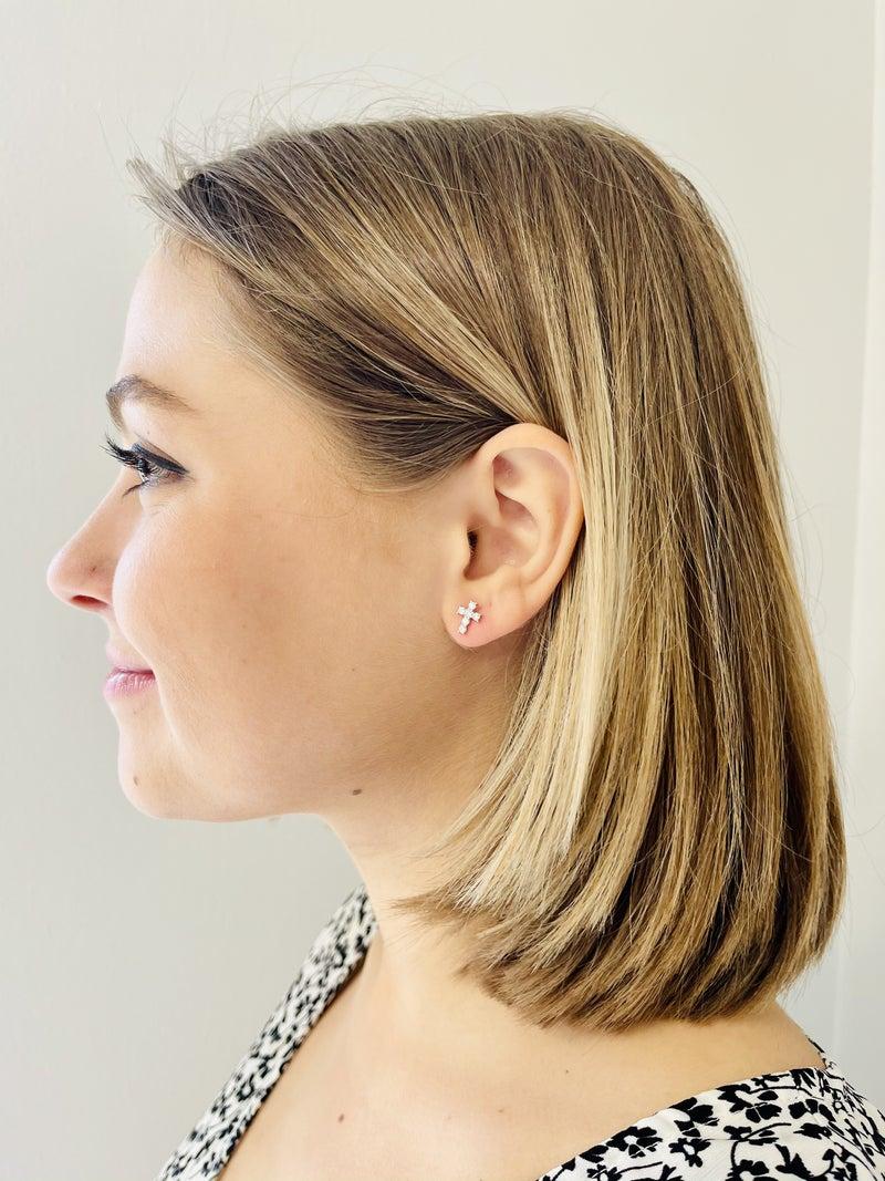 Rhinestone Cross Stud Earrings