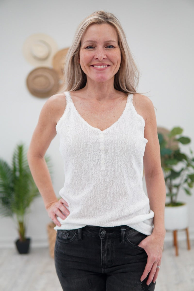 Sweet Lace Button Cami