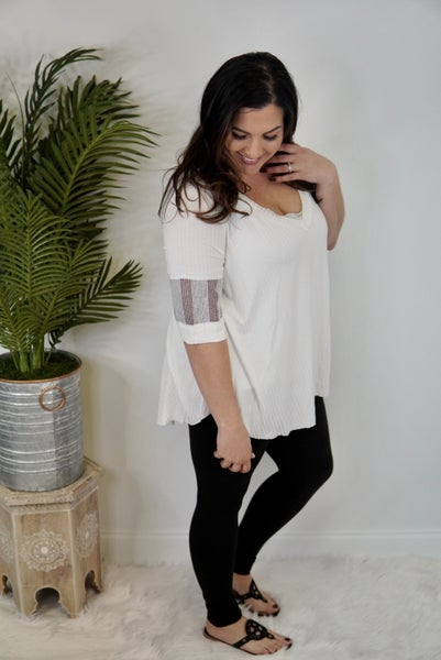 Flirty V-Neck With Sleeve Accent