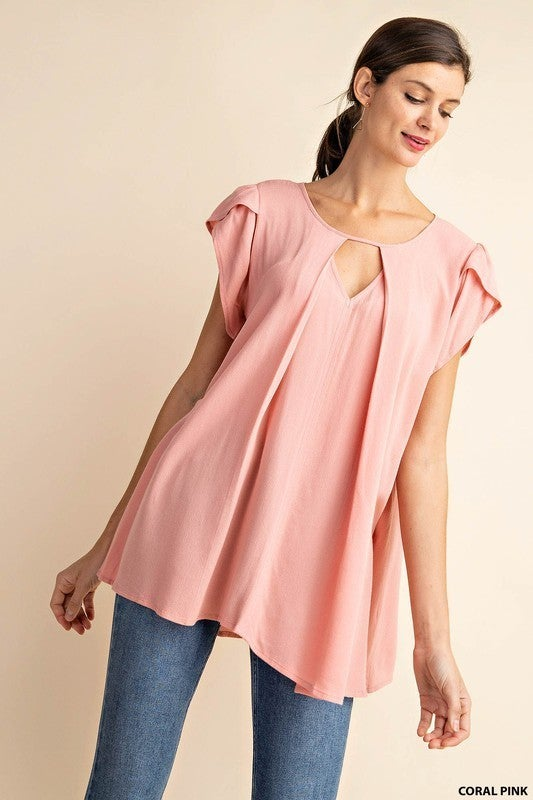 Stylish Tulip Sleeve Cut Out V-Neck Top