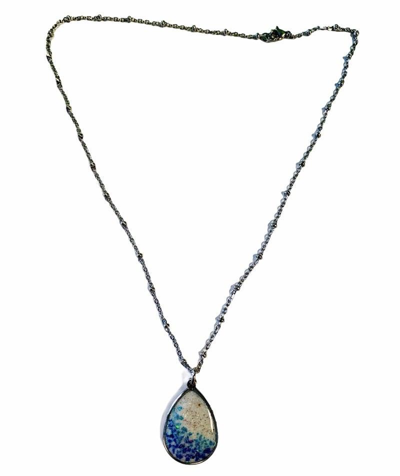 Crushed Opal Teardrop Necklace