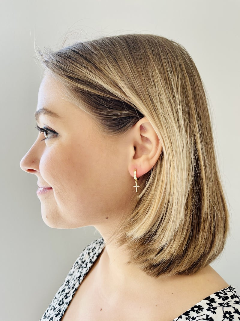Cross Dangle Hoop Earrings