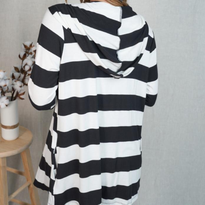 Stripe It Up Hooded Cardigan