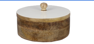 Enamel Round Box of Carved Wood