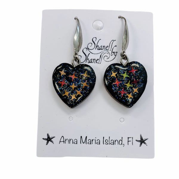 Cosmic Stardust Heart Dangles