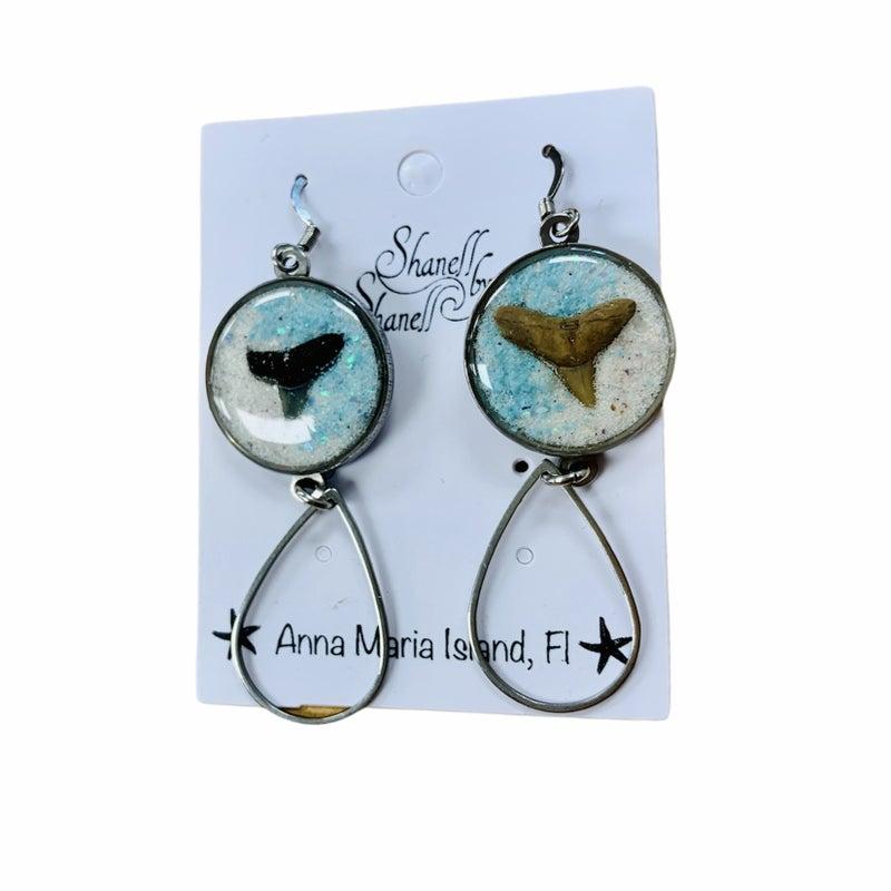 Sharks Teeth Turquoise/ Opal/ Beach Sand Earrings