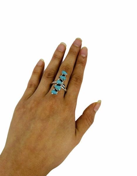 5 Stone Teardrop Adjustable Ring