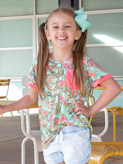 Girls' Vacation Vibes Paisley Top