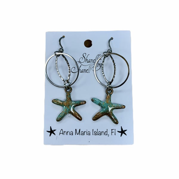 Copper Patina Starfish Hoop Dangles