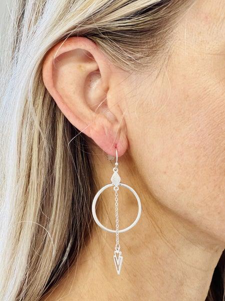 Arrow Hoop Dangle Earrings