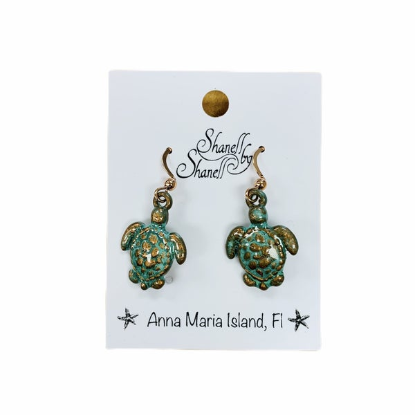 Rose Gold Sea Turtle Dangle Earrings