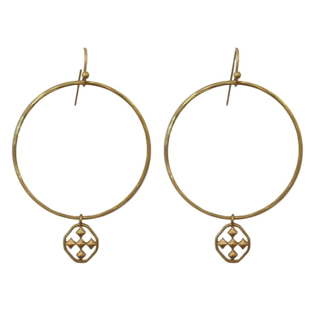 Gracewear Collection Hammered Hoop Earrings