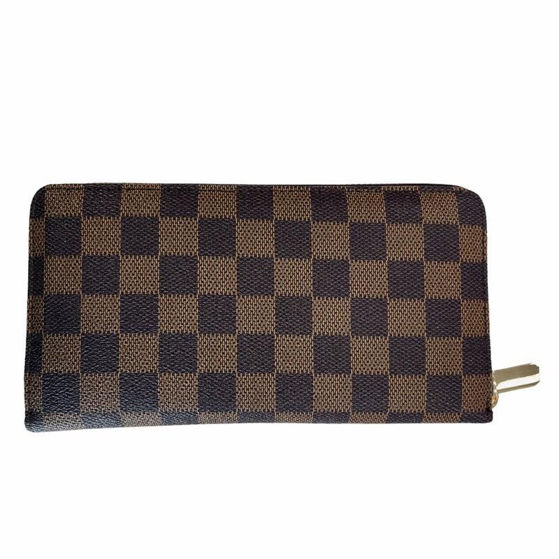 Checkered Zip Around Wallet